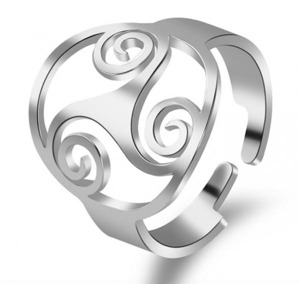 Ring Edelstahl mit Triskele Symbol - Größenverstellbar - silberfarbig