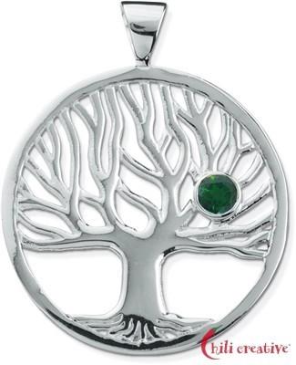 Anhänger Lebensbaum 4cm mit facettiertem Edelstein Chromdiopsid