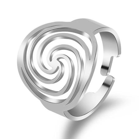 Ring Edelstahl mit Spirale Symbol - Größenverstellbar - silberfarbig