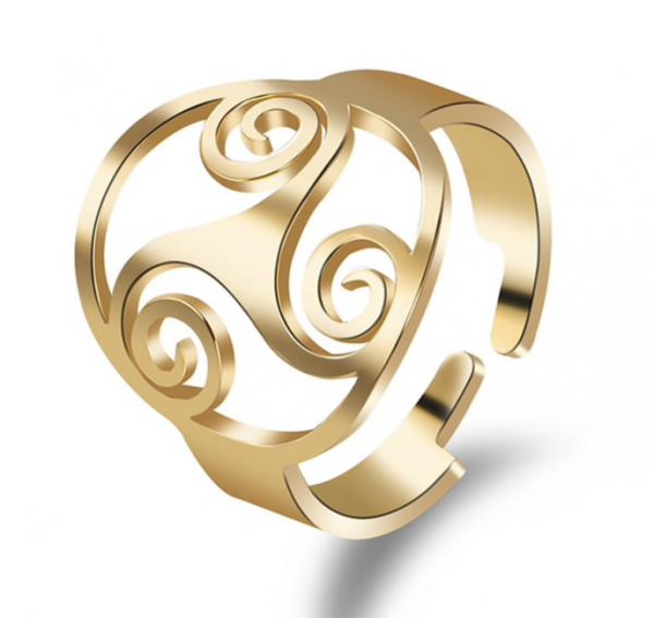 Ring Edelstahl mit Triskele Symbol - Größenverstellbar - goldfarbig