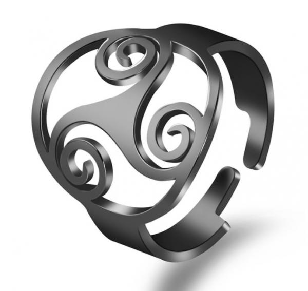 Ring Edelstahl mit Triskele Symbol - Größenverstellbar - schwarzfarbig