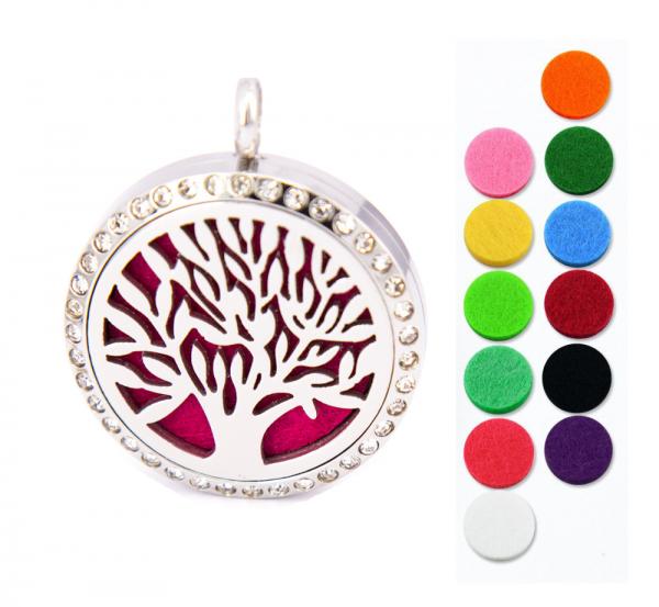 Aromatherapie - ätherisches Öl Halskette - Lebensbaum Anhänger Edelstahl